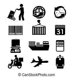 logística, set., ícone