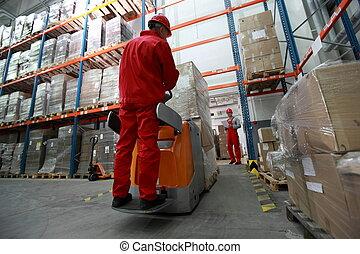 logística, -, trabajadores, en, almacén