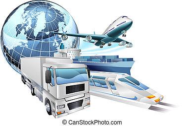 logística, transporte, globo, conceito