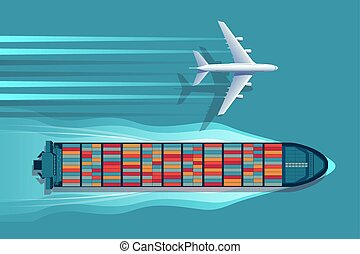 logística, transporte, plane., navio recipiente