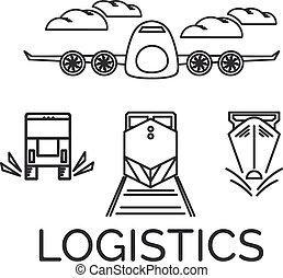 logística, vetorial, eps10, ícones, avião, set., ilustração, trem, ship.., caminhão