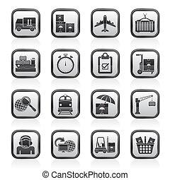 logístico, carga, envío, iconos