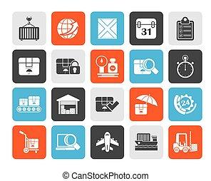logístico, envío, iconos