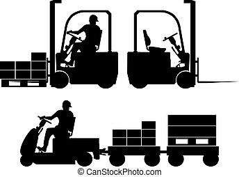 logístico, equipo, siluetas