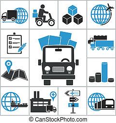 logístico, iconos