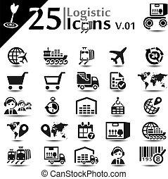 logístico, iconos, v.01