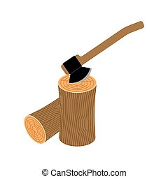 log and axe isolated. Wooden billet and ax on white background