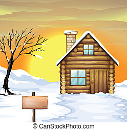 Log cabin and dead tree - Illustration of a log cabin and...