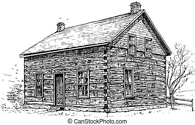 Log Cabin - pen and ink sketch of a typical settlers log...