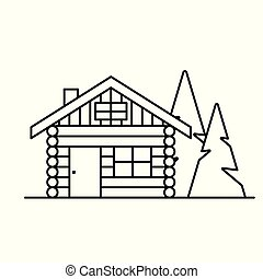 log cabin, cottage icon- vector illustration