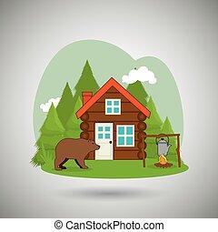 log cabin design, vector illustration eps10 graphic