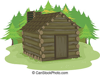 Log Cabin - Illustration Featuring a Log Cabin in a Forest