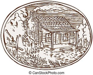 Log Cabin Farm House Oval Etching - Etching engraving...