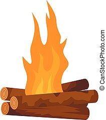 Log cabin fire icon, flat style