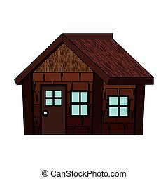 log cabin house isolated icon