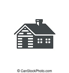 Log cabin icon - Log cabin, simple icon or logo. Vintage...