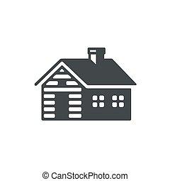 Log cabin icon - Log cabin, simple icon or logo. Vintage ...