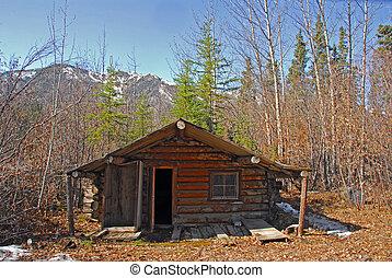 Log cabin in Alaska in Autumn