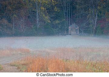 Log Cabin in Morning Fog