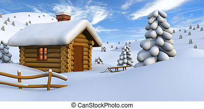 Log cabin in snowy countryside - 3D illustration of a cute ...