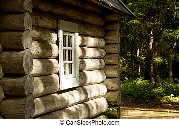 log cabin in the Russian forest