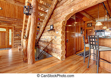 Log cabin kitchen and staircase interior.
