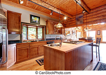 Log cabin large kitchen interior.