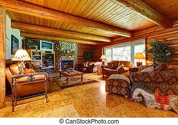 Log cabin living room interior.