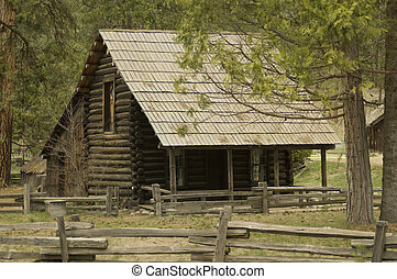 Log cabin in a forest setting