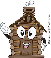 Log Cabin Mascot - Mascot Illustration Featuring a Waving...