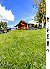 Log cabin on the hill with fresh green grass.