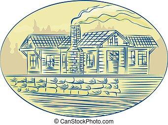 Log Cabin Resort Oval Etching - Etching engraving handmade...