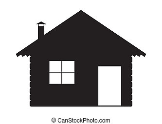A log cabin silhouette design isolated on a white background