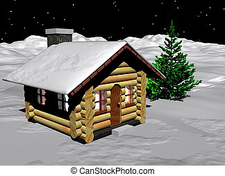 Log Cabin - An image of a very humble log cabin on a snowy...