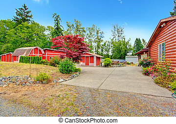 Log cabin style house exterior with farm shed