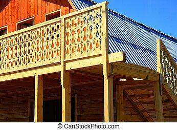 Log cabin under construction
