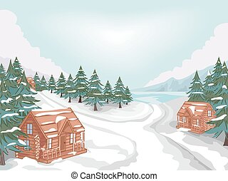 Log Cabin Village - Illustration Featuring a Log Cabin...