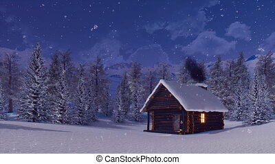 Log cabin with smoking chimney at winter night - Cozy snow...
