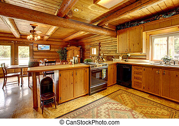 Log cabin wood kitchen with rustic style. - Wood cabin...