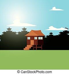 log cabin wooden in landscape