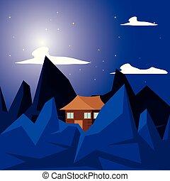 log cabin wooden in night landscape
