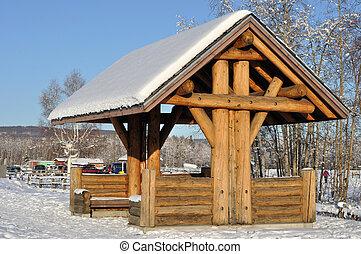 Log construction pavilion at State Park in Alaska