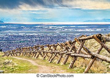 Log fence at Ensign Peak in Salt Lake City, Utah