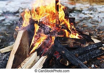 log fire burning