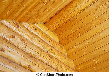 Log Home Construction Detail - Close up view of a log cabin...