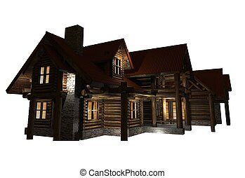 Log Home Isolated Graphic. Log House Night Illumination 3D...