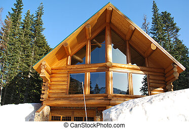 Log home in the mountains with snow