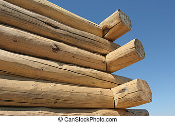 log home under construction - close up of a log home under...
