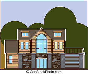 Log Home  - log home illustration clip-art eps vector