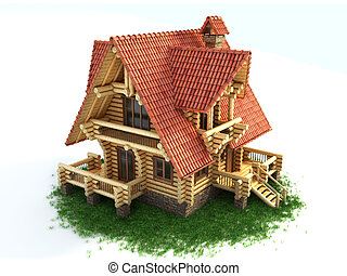 log house 3d illustration